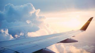 揺れる飛行機からの景色
