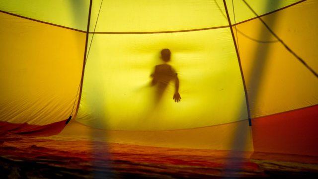 無風状態をしのぐためのテント